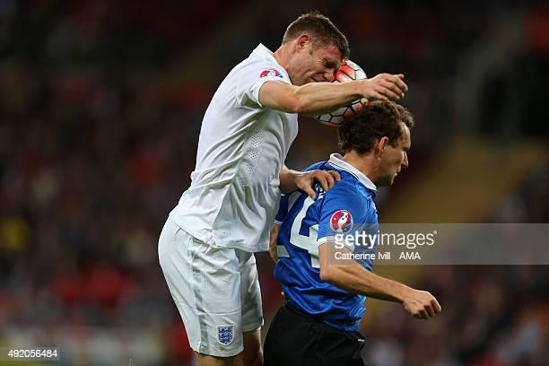 James Milner of England and Konstantin Vassiljev of Estonia during the UEFA EURO 2016 Qualifier match between England and Estonia at Wembley Stadium...