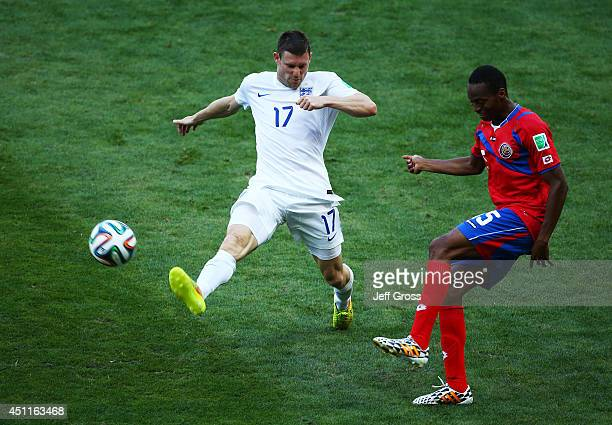 James Milner of England challenges Junior Diaz of Costa Rica during the 2014 FIFA World Cup Brazil Group D match between Costa Rica and England at...