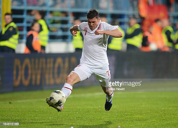 James Milner of England in action during the FIFA 2014 World Cup Group H Qualifier between Montenegro and England at City Stadium on March 26 2013 in...
