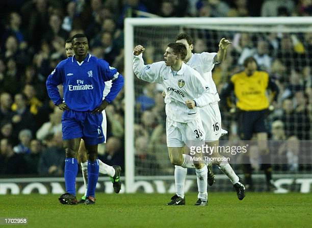 James Milner of Leeds celebrates after scoring the second goal during the Leeds United v Chelsea FA Barclaycard Premiership match at Elland Road on...