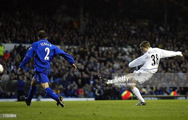 James Milner of Leeds scores the second goal during the Leeds United v Chelsea FA Barclaycard Premiership match at Elland Road on December 28, 2002...