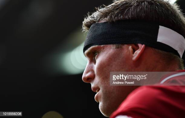 James Milner of Liverpool after scoring the fourth goal during the Premier League match between Liverpool FC and West Ham United at Anfield on August...