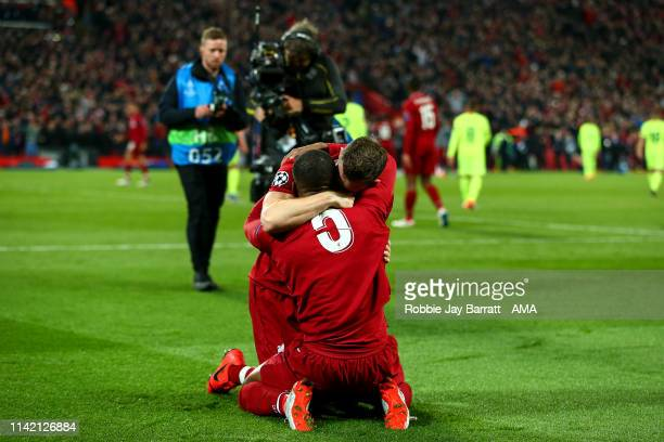 James Milner of Liverpool and Georginio Wijnaldum of Liverpool celebrates at full time during the UEFA Champions League Semi Final second leg match...
