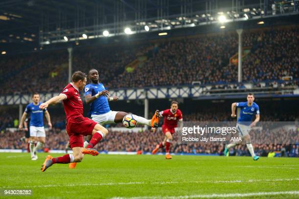 James Milner of Liverpool and Yannick Bolasie of Everton during the Premier League match between Everton and Liverpool at Goodison Park on April 7...