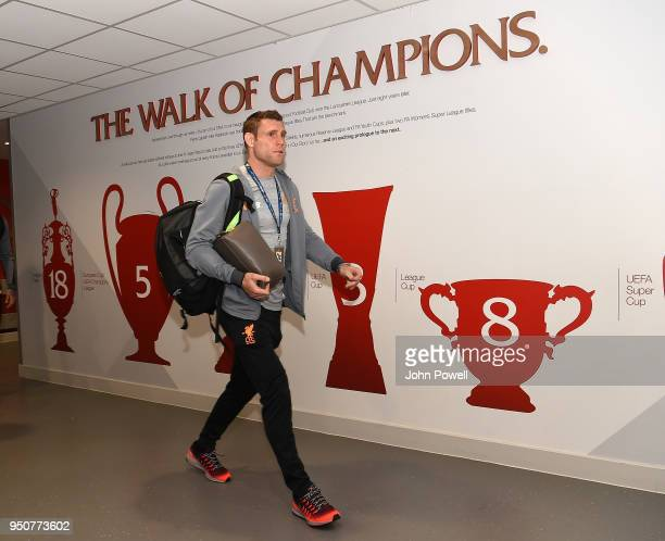 James Milner of Liverpool arrives before the UEFA Champions League Semi Final First Leg match between Liverpool and AS Roma at Anfield on April 24...