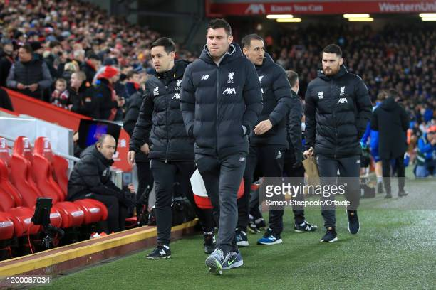 James Milner of Liverpool arrives to watch the FA Cup Fourth Round Replay match between Liverpool and Shrewsbury Town at Anfield on February 4 2020...