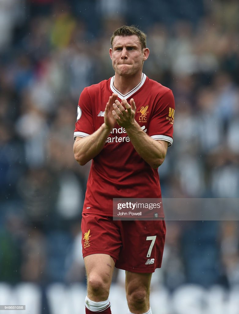 James Milner of Liverpool at the end of the Premier League match between West Bromwich Albion and Liverpool at The Hawthorns on April 21, 2018 in West Bromwich, England.