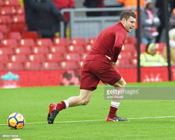 James Milner of Liverpool before the Premier League match between Liverpool and Everton at Anfield on December 10 2017 in Liverpool England
