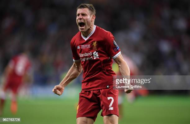 James Milner of Liverpool celebrates after his sides first goal during the UEFA Champions League Final between Real Madrid and Liverpool at NSC...