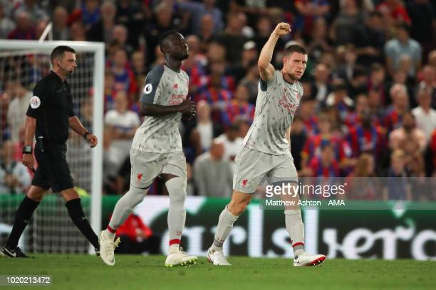 James Milner of Liverpool celebrates after scoring a goal to make it 01 during the Premier League match between Crystal Palace and Liverpool FC at...