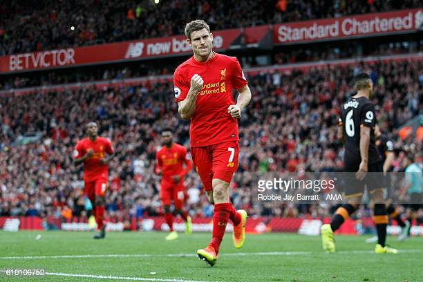 James Milner of Liverpool celebrates after scoring a goal to make it 5-1 during the Premier League match between Liverpool and Hull City at Anfield...