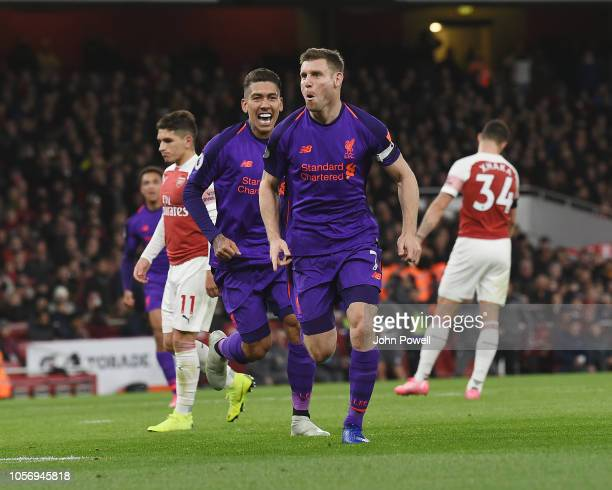 James Milner of Liverpool Celebrates his Goal during the Premier League match between Arsenal FC and Liverpool FC at Emirates Stadium on November 3,...