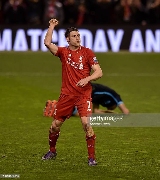 James Milner of Liverpool celebrates his goal to make it 20 during the Barclays Premier League match between Liverpool and Manchester City at Anfield...