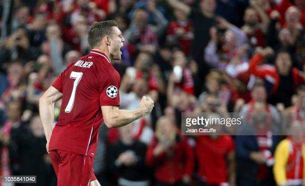 James Milner of Liverpool celebrates scoring a penalty during the Group C match of the UEFA Champions League between Liverpool FC and Paris...