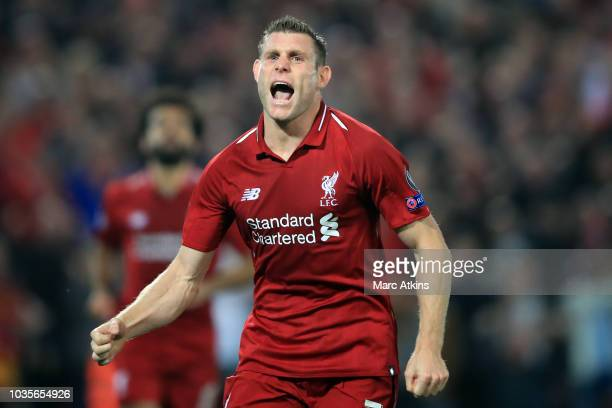 James Milner of Liverpool celebrates scoring their 2nd goal during the Group C match of the UEFA Champions League between Liverpool and Paris...