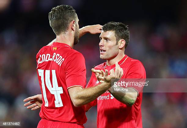 James Milner of Liverpool celebrates with Jordan Henderson after scoring the first goal during the international friendly match between Adelaide...