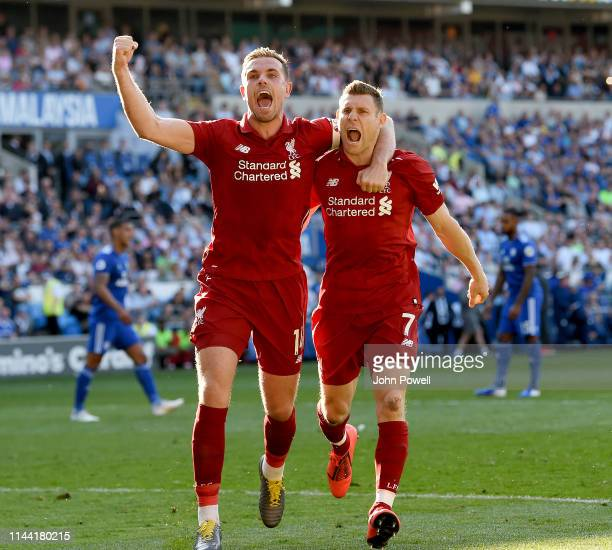 James Milner of Liverpool celebrating after scoring from the penalty spot during the Premier League match between Cardiff City and Liverpool FC at...
