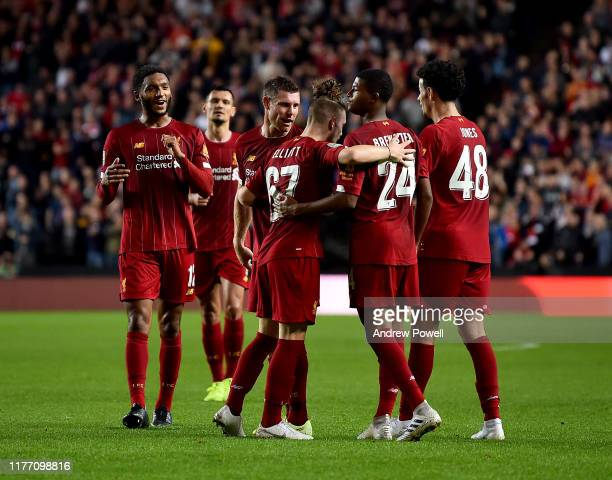 James Milner of Liverpool celebrating after scoring the opening goal during the Carabao Cup Third Round match between Milton Keynes Dons and...