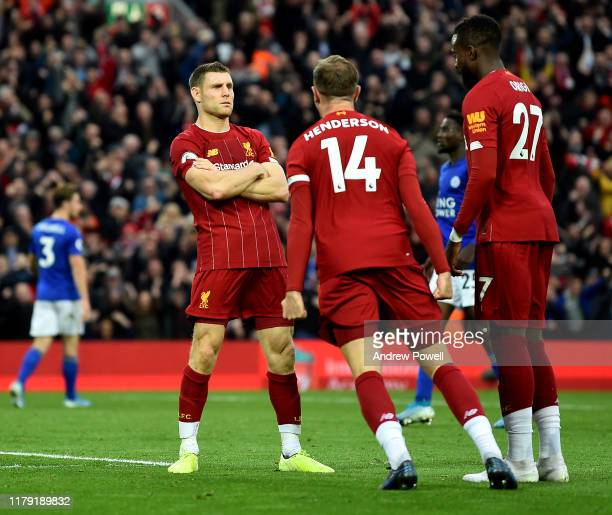 James Milner of Liverpool celebrating after scoring the winning goal from the penalty spot during the Premier League match between Liverpool FC and...