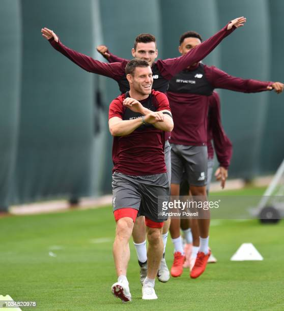 huge discount 5b576 8caa5 James Milner of Liverpool during a training session at Anfield on September  17 2018 in Liverpool