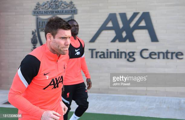 James Milner of Liverpool during a training session at AXA Training Centre on April 13, 2021 in Kirkby, England.