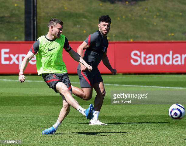 James Milner of Liverpool during a training session at AXA Training Centre on April 22, 2021 in Kirkby, England.