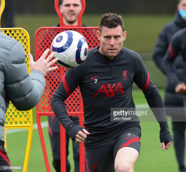 James Milner of Liverpool during a training session at AXA Training Centre on April 28, 2021 in Kirkby, England.