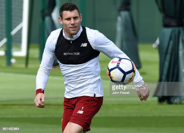 James Milner of Liverpool during a training session at Melwood on April 26 2018 in Liverpool England