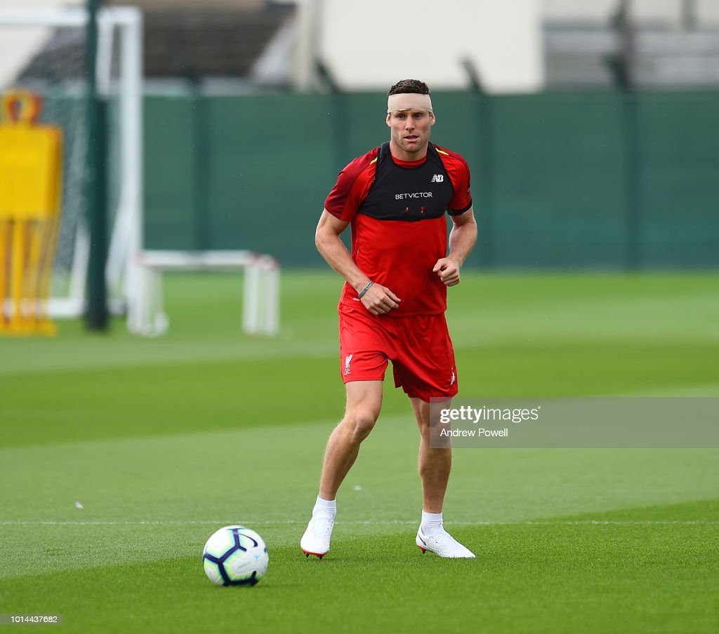 James Milner of Liverpool during a training session at Melwood Training Ground on August 10, 2018 in Liverpool, England.