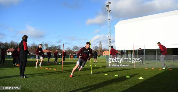 James Milner of Liverpool during a training session at Melwood training ground on February 18 2019 in Liverpool England