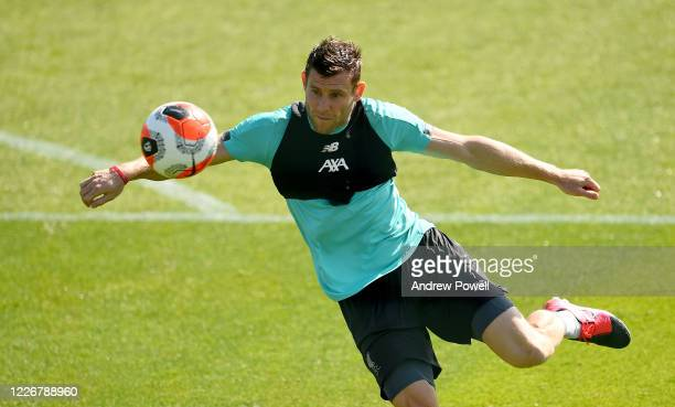 James Milner of Liverpool during a training session at Melwood Training Ground on May 24 2020 in Liverpool England