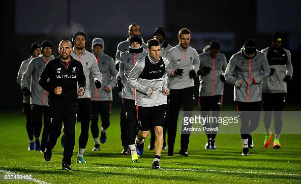 James Milner of Liverpool during a training session at Melwood Training Ground on January 23 2017 in Liverpool England