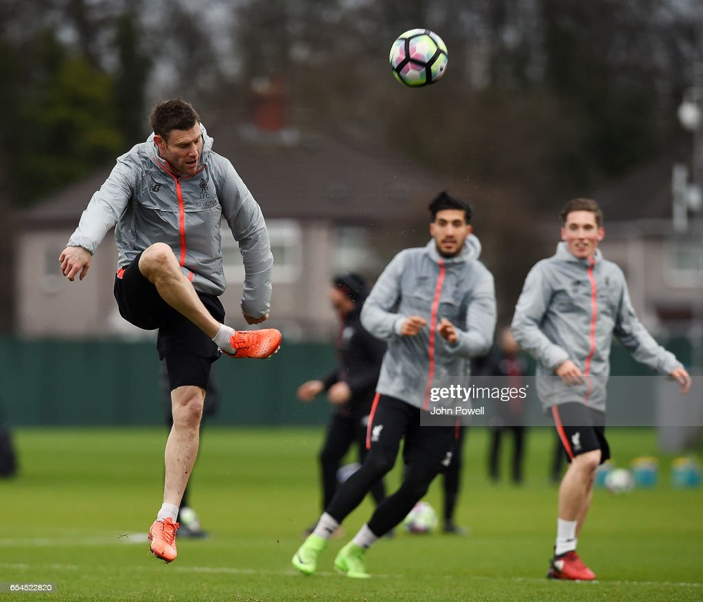 James Milner of Liverpool during a training session at Melwood Training Ground on March 17, 2017 in Liverpool, England.