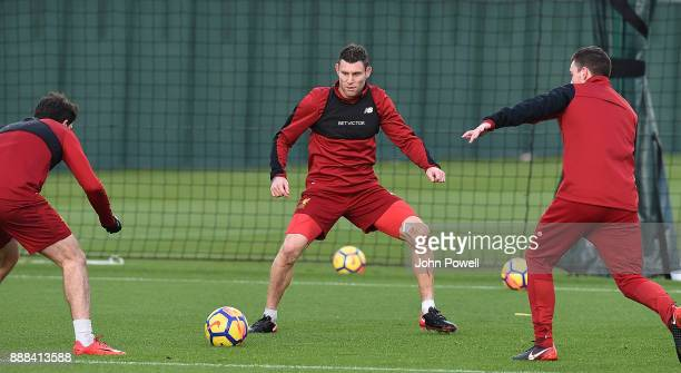 James Milner of Liverpool during a training session at Melwood Training Ground on December 8 2017 in Liverpool England