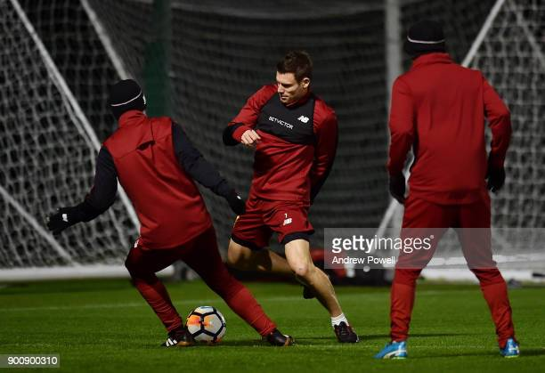 James Milner of Liverpool during a training session at Melwood Training Ground on January 3 2018 in Liverpool England