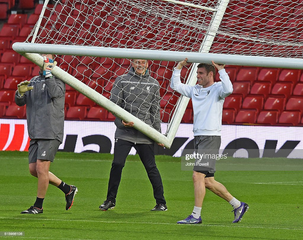 James Milner of Liverpool during a training session at Old Trafford on March 16, 2016 in Liverpool, United Kingdom.