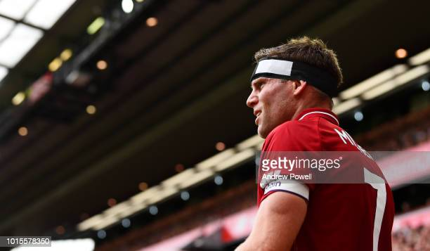 James Milner of Liverpool during the Premier League match between Liverpool FC and West Ham United at Anfield on August 12 2018 in Liverpool United...