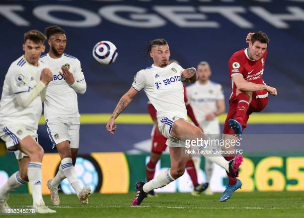 James Milner of Liverpool during the Premier League match between Leeds United and Liverpool at Elland Road on April 19, 2021 in Leeds, England....