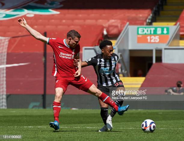 James Milner of Liverpool during the Premier League match between Liverpool and Newcastle United at Anfield on April 24, 2021 in Liverpool, England....