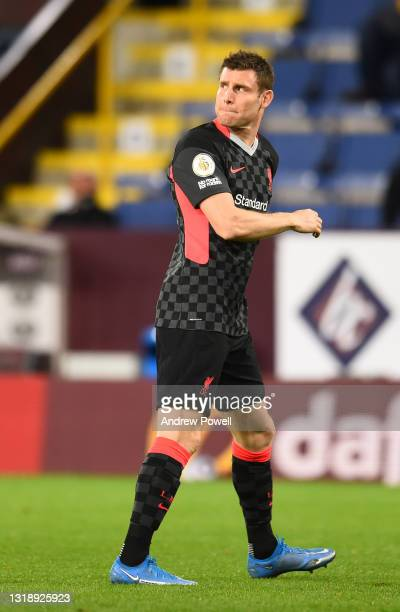 James Milner of Liverpool during the Premier League match between Burnley and Liverpool at Turf Moor on May 19, 2021 in Burnley, England.