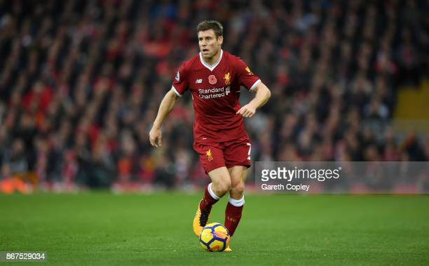 James Milner of Liverpool during the Premier League match between Liverpool and Huddersfield Town at Anfield on October 28 2017 in Liverpool England