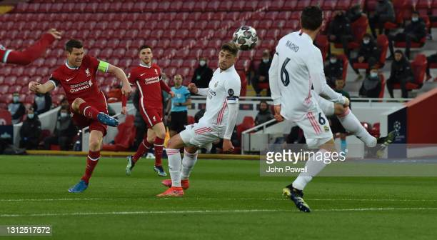 James Milner of Liverpool during the UEFA Champions League Quarter Final Second Leg match between Liverpool FC and Real Madrid at Anfield on April...