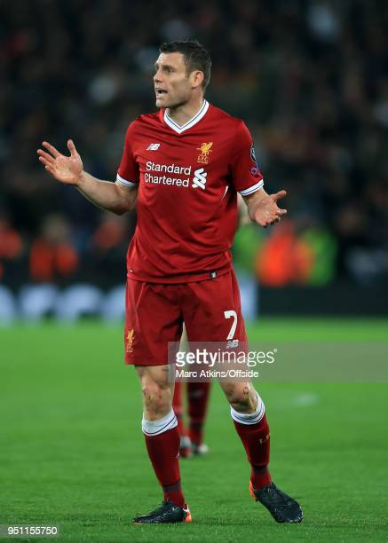 James Milner of Liverpool during the UEFA Champions League Semi Final First Leg match between Liverpool and AS Roma at Anfield on April 24 2018 in...
