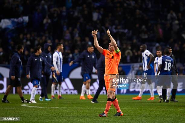 James Milner of Liverpool FC celebrates his team victory with Liverpool fans at the end of the UEFA Champions League Round of 16 First Leg match...