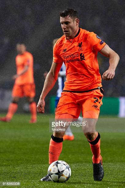 James Milner of Liverpool FC in action during the UEFA Champions League Round of 16 First Leg match between FC Porto and Liverpool FC at Estadio do...