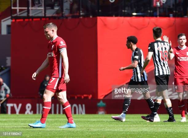 James Milner of Liverpool heads for the changing rooms at the end of the Premier League match between Liverpool and Newcastle United at Anfield on...
