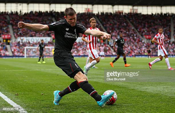 James Milner of Liverpool in action during the Barclays Premier League match between Stoke City and Liverpool at Britannia Stadium on August 9, 2015...