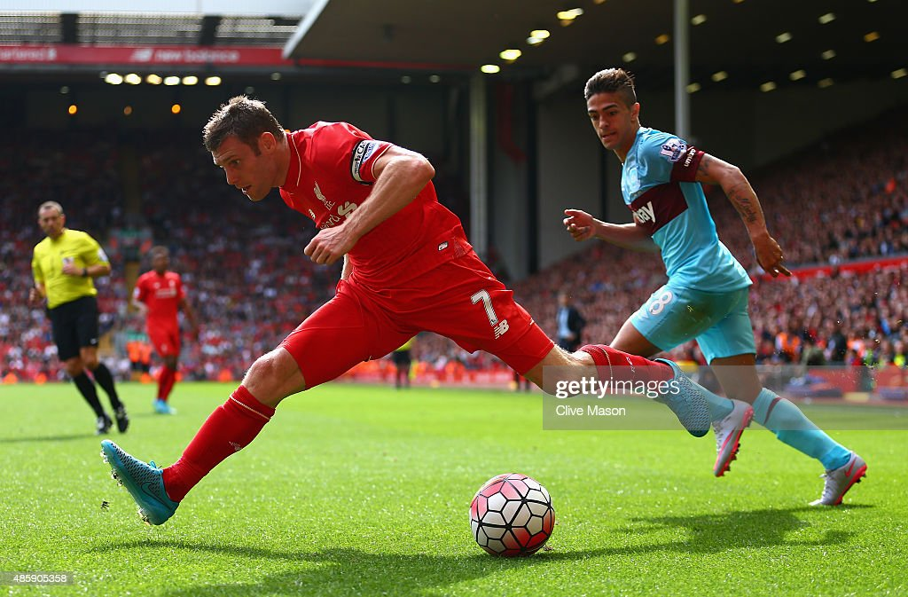 James Milner of Liverpool in action during the Barclays Premier League match between Liverpool and West Ham United at Anfield on August 29, 2015 in Liverpool, United Kingdom.