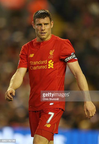 James Milner of Liverpool in action during the Barclays Premier League match between Liverpool and Chelsea at Anfield on May 11 2016 in Liverpool...