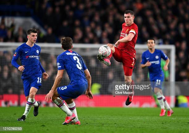 James Milner of Liverpool in action during the FA Cup Fifth Round match between Chelsea FC and Liverpool FC at Stamford Bridge on March 03, 2020 in...